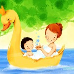 Lovely_illustration_of_mother_son_on_swan_boat_wallcoo.com